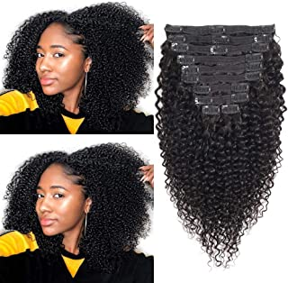 Kinky Curly Clip ins 12 Inches 8A Grade 4B 4C Kinkys Coily Clip in Human Hair Extensions Double Lace Wefts 1B Natural Black Color for African American Women 10Pcs/lot 120Gram/set