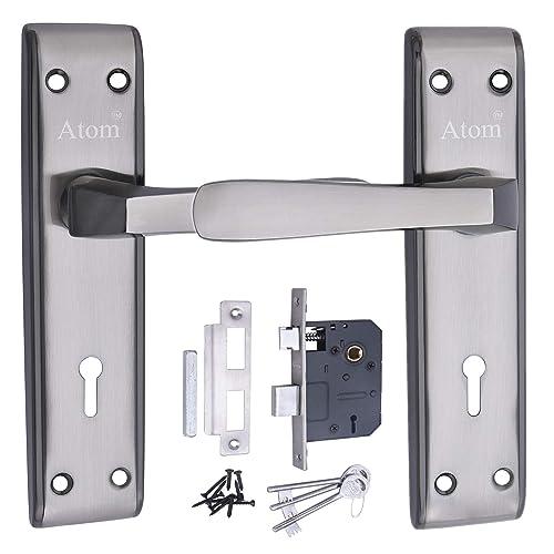 MORTICE HANDLE, MORTICE LOCK , DOOR LOCK , LOCK ATOM Door Handle Set With Double Stage Lock 3 Keys - Black Silver Finish