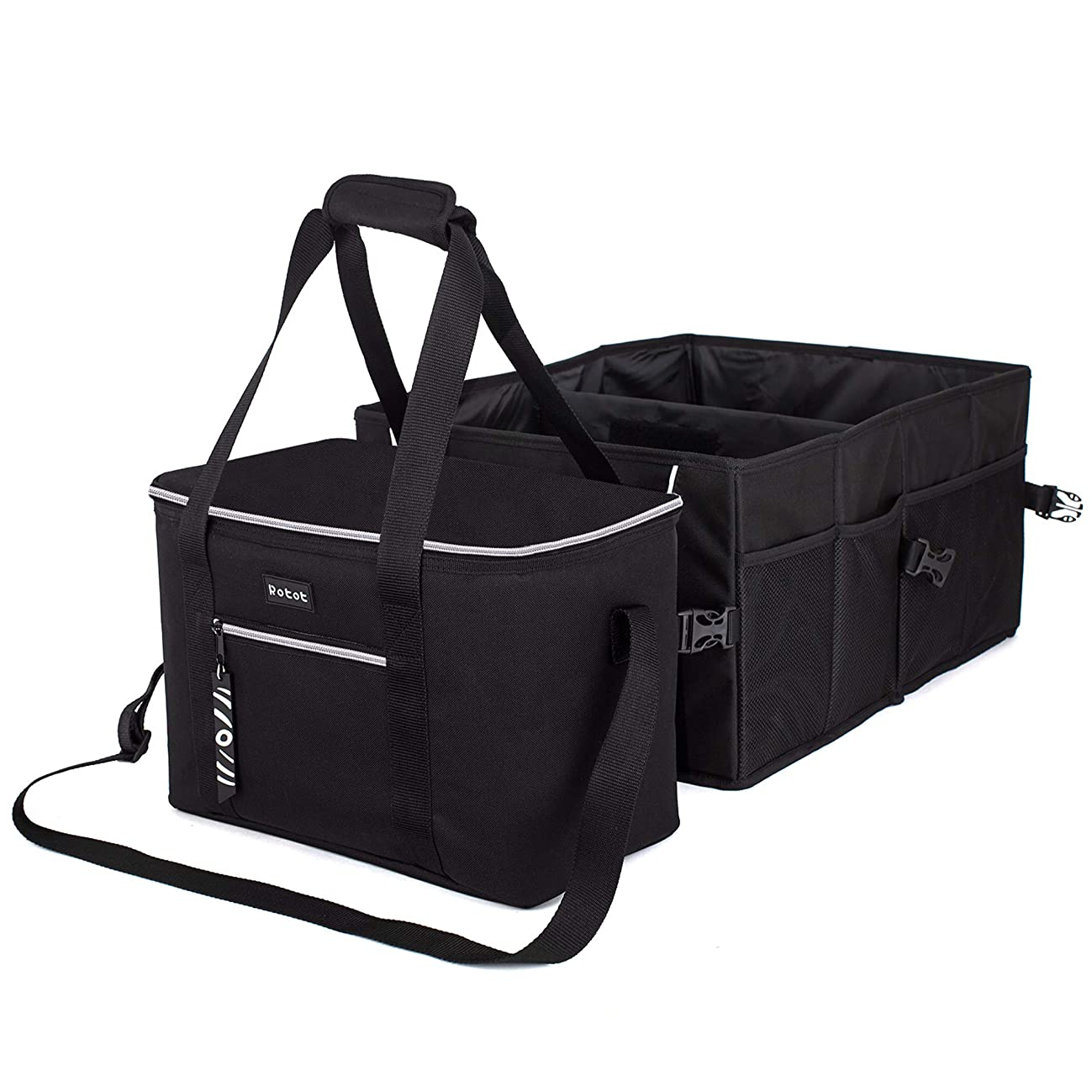 Rotot Car Trunk Organizer with Camping Cooler Bag, Durable Collapsible Cargo Groceries Storage with 2 Non-Slip Strap Hooks, Container Bin Box Waterproof Suits Most Cars, Black