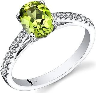 14K White Gold Peridot Ring Oval Cut 1.25 Carats