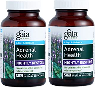 Gaia Herbs Adrenal Health Nightly Restore Supplement (120 Pack of 2)