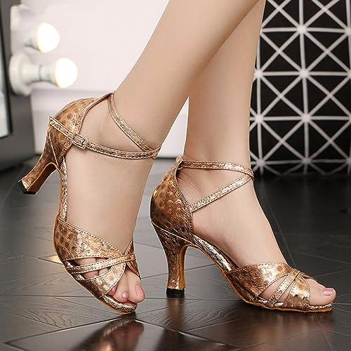 Masocking@ Femme Chaussures de Danse Sandales Sangles de cheville orteil hommequant fond mou de plein air Chaussures de danse amitié carré