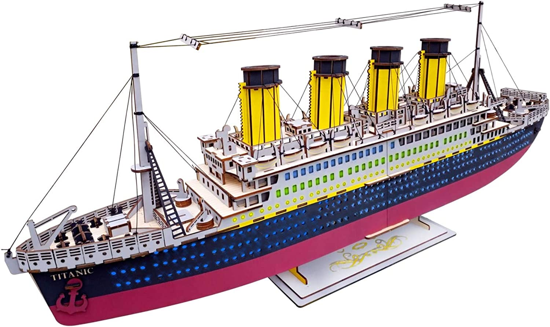 XUlungo Titanic modellolo Kit 3D Puzzle Jigsaw in Legno modelloli di Costruzione Bloc  Craft Kit per Bambini età 6 +