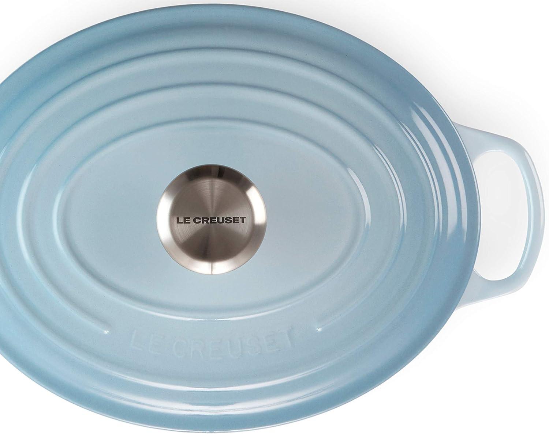 Meeresblau /Ø 25 cm Le Creuset Signature Gusseisen-Br/äter mit Deckel Oval 3,672 kg F/ür alle Herdarten und Induktion geeignet Volumen: 3,2 l