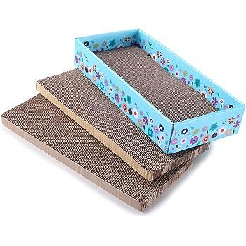 WellQ 3Packs Corrugated Cat Scratcher Cardboard…