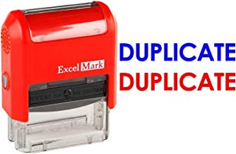 Duplicate - ExcelMark Self-Inking Two-Color Rubber Office Stamp - Red and Blue Ink