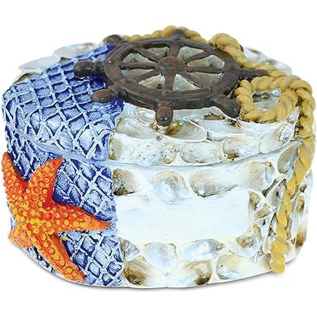 PuzzledRed Lighthouse With Orange Starfish Nautical Jewelry Box