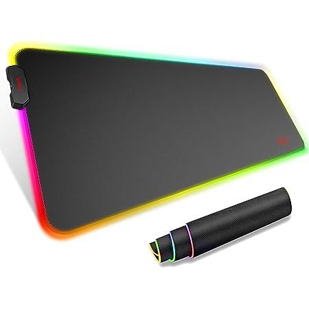 havit Tapis de Souris XXL Gamer RGB avec 14 Modes d'Eclairage 800 x 300 x 4mm Très Grande Gaming Tapis, Tapis de Souris étendu pour Joueurs sur PC étudiants, Base en Caoutchouc Antidérapante Noir