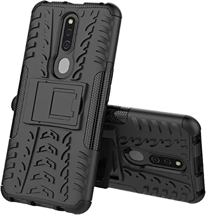 TecKraft Hard Armor Kickstand Back Cover for Oppo F11 Pro (Black Mesh)