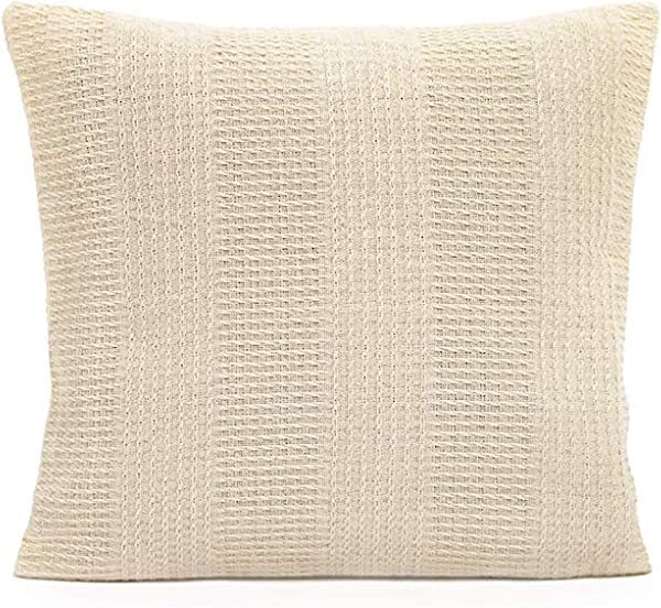 Organic Cotton Throw Pillow Cover 100 Organic Cotton G O T S Certified Zipper Square Cushion Cases Embroided Pillow Cases For Couch Sofa Bedroom Naturally Dyed Washable 18x18 Natural