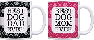 Dog Gifts for Women and Men Best Dog Mom and Dad Ever Dog Rescue Dog Themed Gifts Dog Mug 2 Pack Gift Coffee Mugs Tea Cups Pink/Black