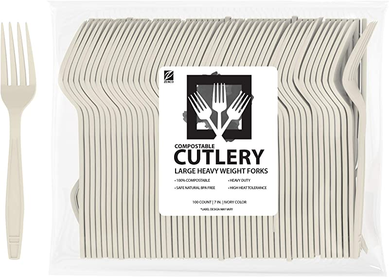 ZenCo Biodegradable Compostable Disposable Cutlery 100 Forks Large 7 0 Ivory Heavy Duty Heat Resistant Eco Friendly Utensils For Office Catering Picnics Or Birthdays 100 Count Forks