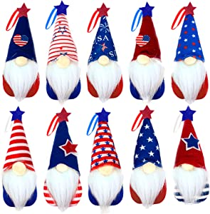 4th of July Patriotic Gnome Decorations, 10 Pack Different Independence Day Hanging Ornaments Handmade Red White Blue American Flag Stars Plush Memorial Day Gift Elf Home Wall Home Decoration