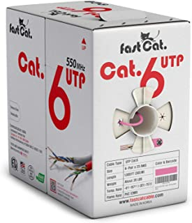 fast Cat. Cat6 Ethernet Cable 1000ft - 23 AWG, CMR, Insulated Solid Bare Copper Wire Internet Cable with Noise Reducing Cr...