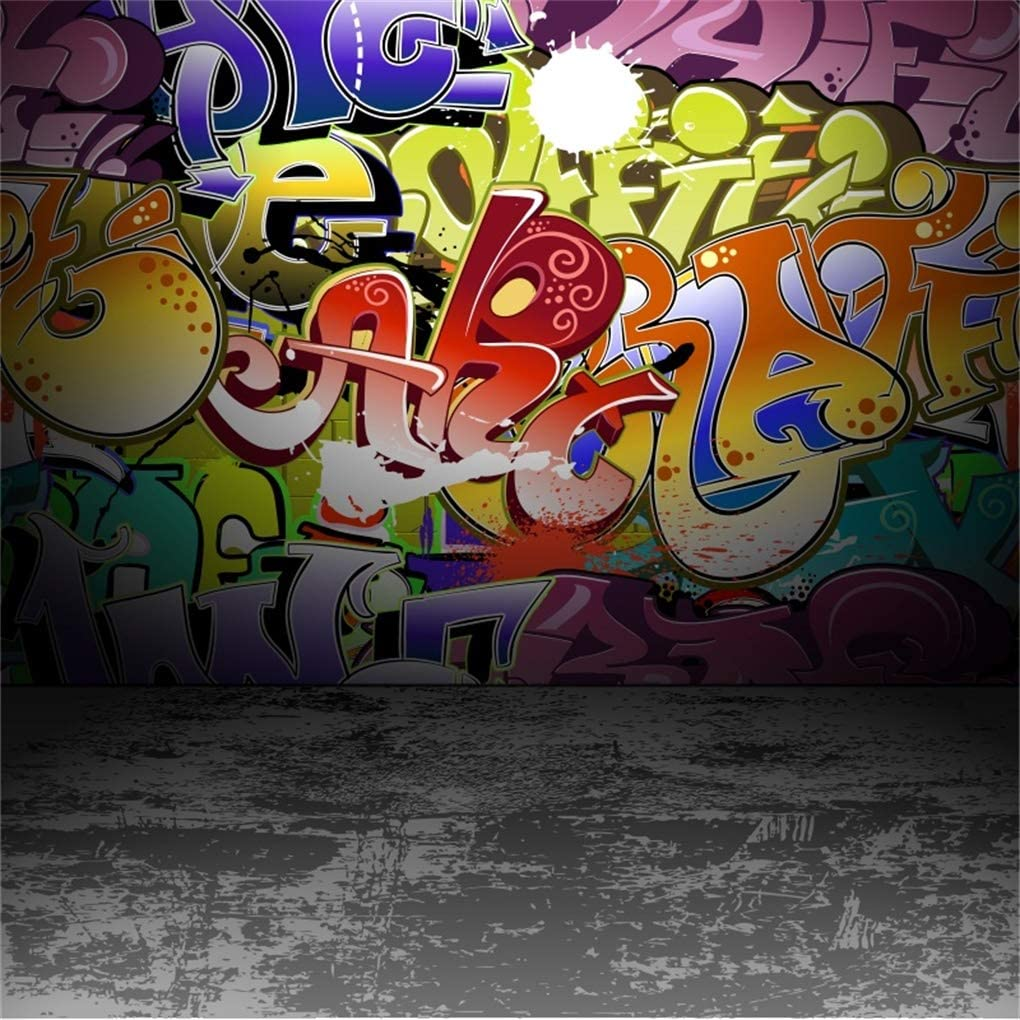 YEELE 9x9ft Graffiti Wall Photography Backdrop Urban Street Grunge Art Background Music Events Street Dance Show Photo Portrait Booth Photoshoot Studio Props Digital Wallpaper
