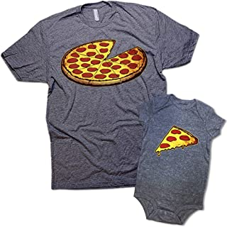 Funny Pizza Pie & Slice Dad & Baby Matching Clothing Shirt Set Shower Gift
