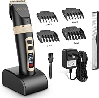 ETEREAUTY Hair Clippers for Men, Cordless Hair Trimmer, Rechargeable Beard Trimmer - with Titanium Ceramic Blade, LED Display, 3 Adjustable Speeds Beard Trimmers-Great for Father/Husband/Boyfriend