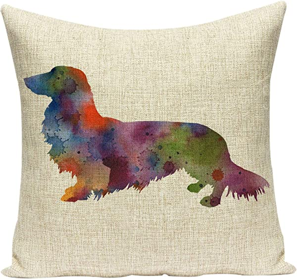 Acelive 16 X 16 Inches Cute Dog Cotton Linen Pillow Cases Hidden Zip Sofa Home Car Waist Throw Cushion Cover