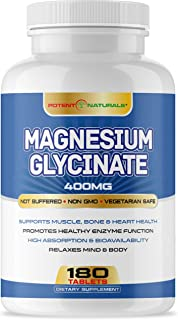 Potent Naturals Magnesium Glycinate 400mg 180 Tablets - Helps with Stress, Sleep, Nerves, Muscle Cramps, Pains, Joint, Heart Health - Non-Laxative, High Absorption - Non GMO, Soy, Gluten Free
