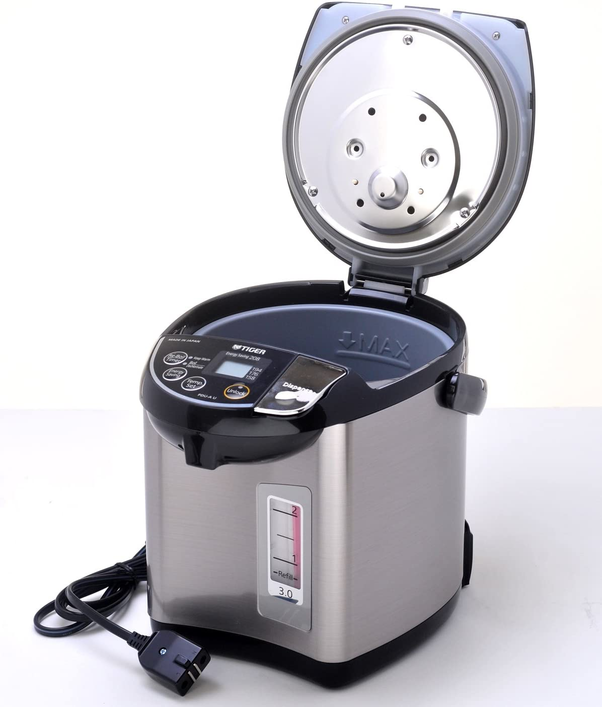 Stainless Black 3.0-Liter Tiger PDU-A30U-K Electric Water Boiler and Warmer