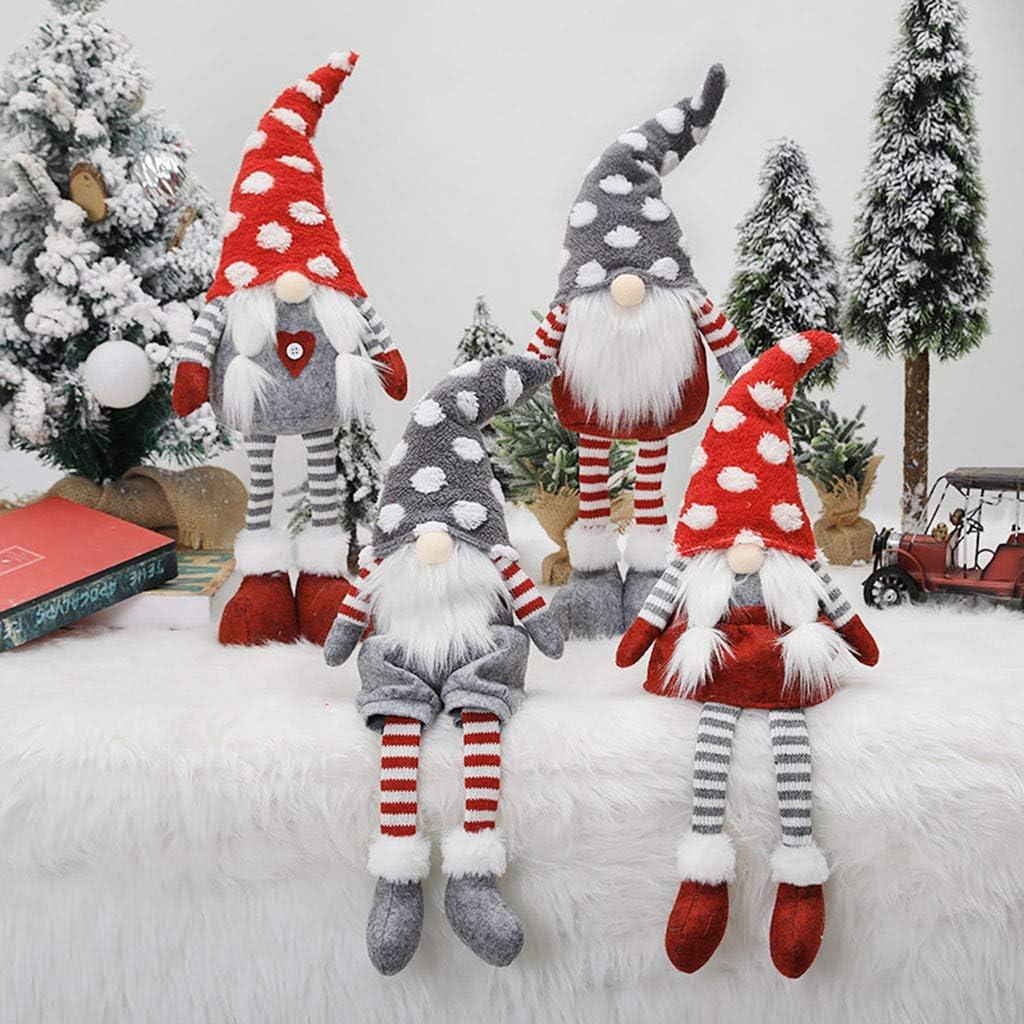 yIFeNG Christmas Elf Decoration Handmade Stripe Sitting Standing Gnome Swedish Doll Toy