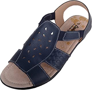 ABSOLUTE FOOTWEAR Womens Soft Leather Summer/Holiday Sandals/Shoes with Elasticated Fit