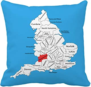 Awowee Throw Pillow Cover Map of Gloucestershire in South West England United Kingdom 16x16 Inches Pillowcase Home Decorative Square Pillow Case Cushion Cover