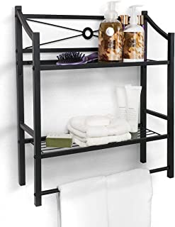 over toilet storage with towel bar