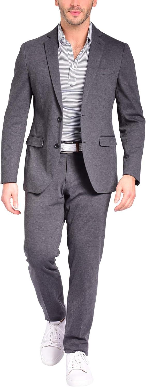 Craft & Soul Men's Slim Fit 2 Piece Jacket Pants Lightweight Casual Knit Suit