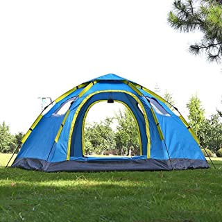 GUOZ Large Automatic Tent Quick Opening 6-8 People 2 Doors 4 Windows Anti-UV Mongolian Yurt Large Outdoor Tent Family Travel Tent