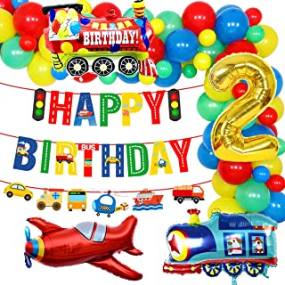 Transportation 2nd Birthday Party Supplies Vehicle Balloon Garland Kit for Boys with Train Airplane Balloons Happy Birthda...