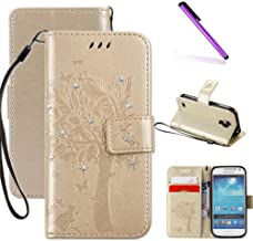Galaxy S4 Mini Case,LEECOCO Fancy Print Floral Pattern Wallet Case with Card/Cash Slots [Kickstand] Shockproof PU Leather Folio Flip Protective Case for Samsung Galaxy S4 Mini i9190