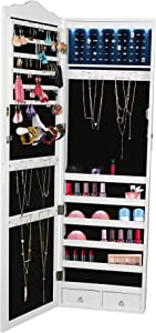 Mind Reader HMLED14-WHT Hanging Cabinet, 14, Wall Mounted Jewelry Armoire Organizer with Mirror 2 Drawers, Necklaces, Rings, Earrings, Bracelets, White LED Lights