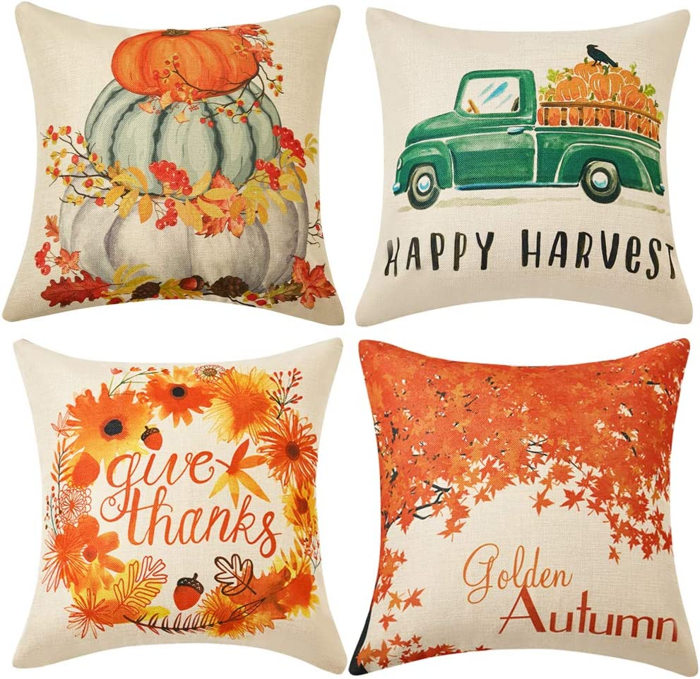 WLNUI Set of 4 Thanksgiving Fall Pillow Covers 18x18 Inch Happy Harvest Give Thanks Golden Autum Theme Linen Throw Pillow Covers Cushion Cases for Sofa Couch Home Decor