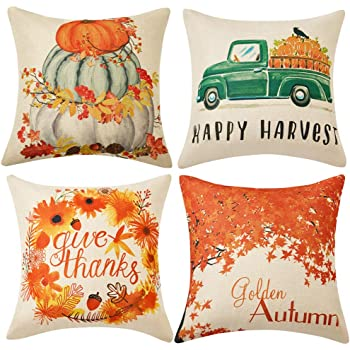 AENEY Fall Thankful Arrow Throw Pillow Cover 18 x 18 for Couch Autumn Thanksgiving Decorations Farmhouse Home Decor Decorative Pillowcase Faux Linen Cushion Case for Sofa