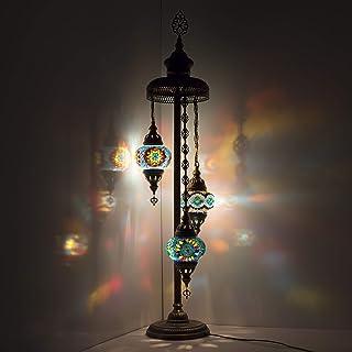 Lampadaire mosaïque fait main Multicolore 3 globes Taille M
