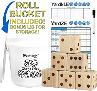 "GetMovin' Sports Giant Wooden Dice Outdoor Lawn Yard Game Set with Roll Bucket and Scorecard - Includes 6 Dice, Dry Erase Scorecard W/ Marker, Roll Bucket, Lid for Storage (3.5"" Dice)"