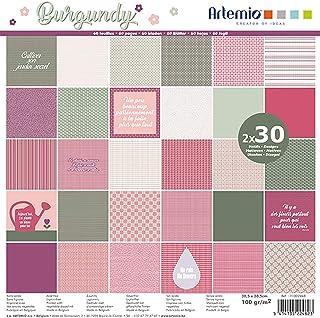 Artemio 11002448 Bloc de 30x2 Feuilles Burgundy 30x30 cm, Multicolore