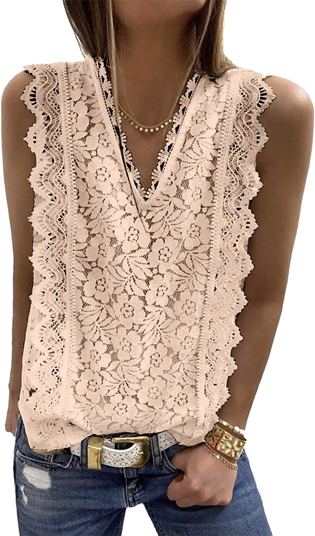 Dokotoo Women's V Neck Lace Crochet Tunic Tank Tops Flowy Casual Sleeveless Blouses Shirts