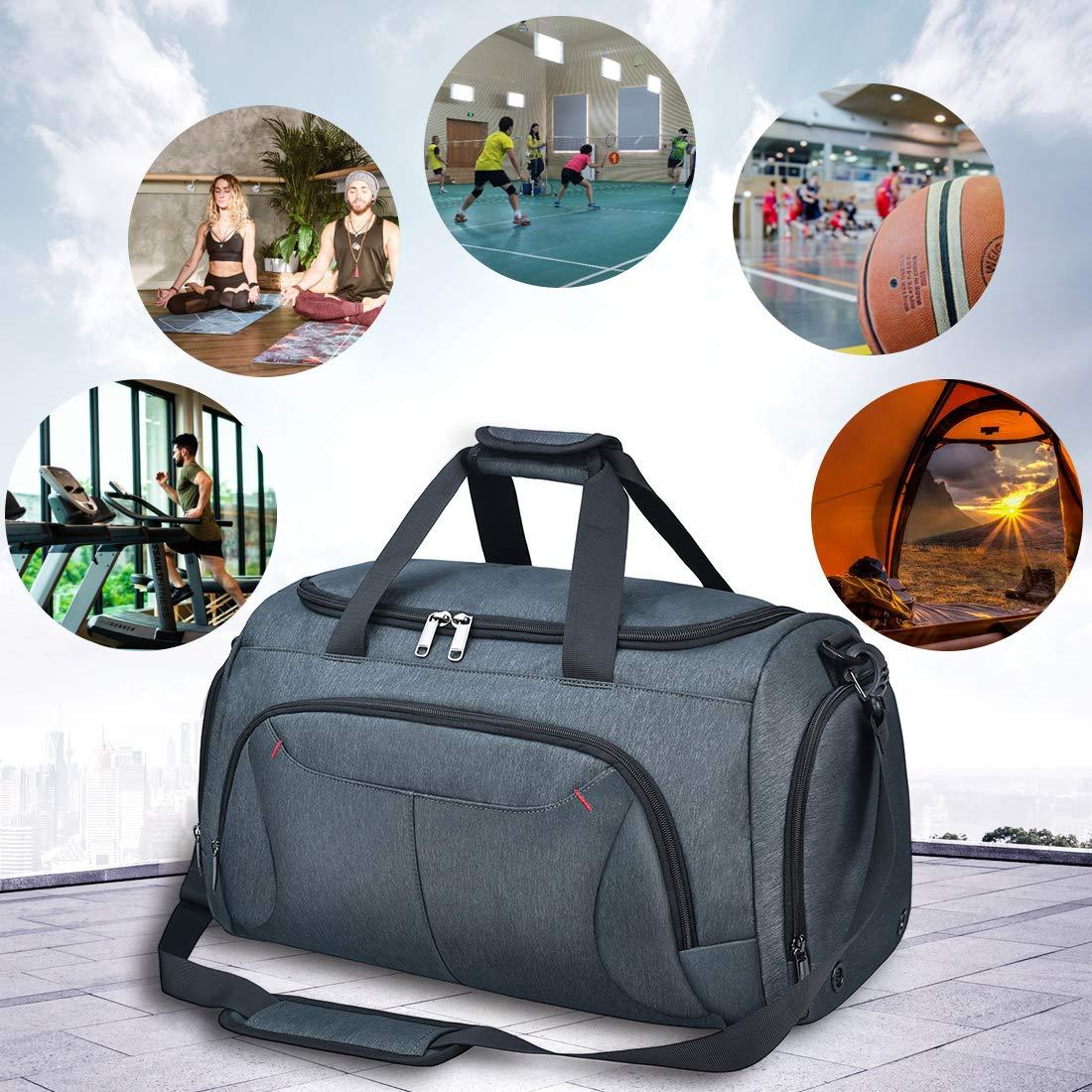 NEWHEY Bolsa Deportiva Bolsas de Viaje para Hombre Mujer Bolso Deporte Gimnasio con Compartimento para Zapatos Sport Gym Duffle Bag Impermeable 40L