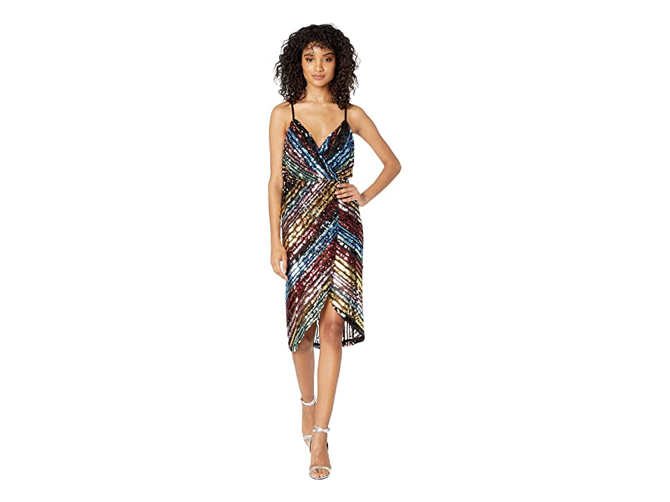 J.O.A. Sequin Wrap Dress (Multicolor Sequin) Women