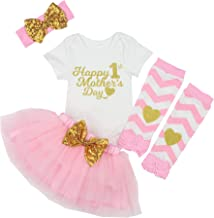 First Mothers Day Baby Girl Outfit Letter Print Rompers+Tutu Dresses Shorts+Leggings+Headband 4PCS Skirt Set
