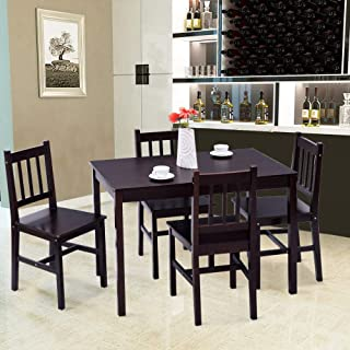 Casart 5 Piece Wood Dining Table Set 4 Chairs Home Kitchen Breakfast Furniture (Brown)