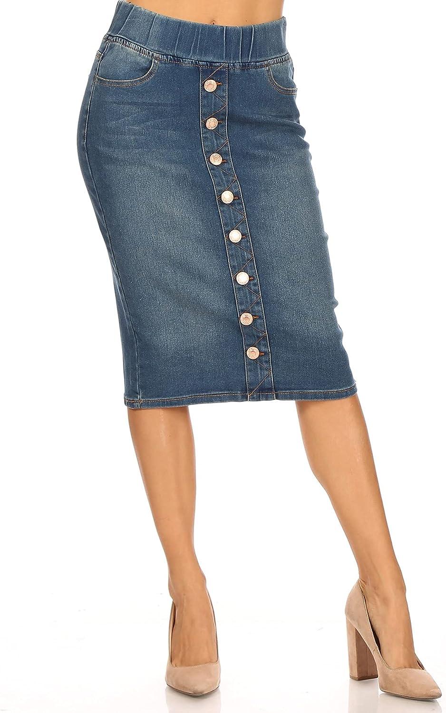 Fashion2Love Women's Juniors/Plus Size Elastic Waist Pull-On Stretch Denim Skirt