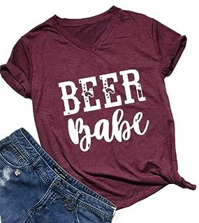 Beer Babe T Shirt Women Drinking Shirt Short Sleeve V Neck Letter Print T Shirt Tee