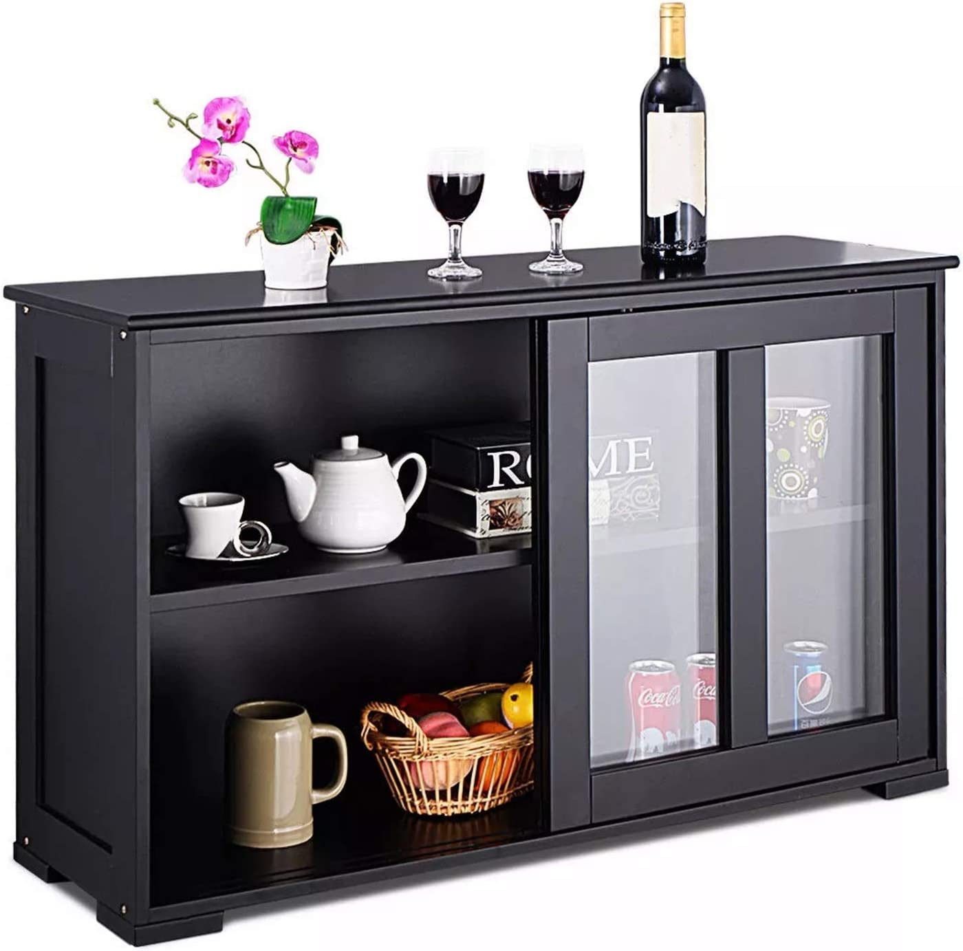 YADSHENG Sideboard Storage Cabinet Gla shopping Cupboard Buffet Superlatite