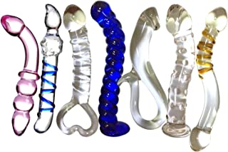 Loveria Seven Unique design Types Set Crystal Glass Dildo Anal Plug Adult Toys,Great gift