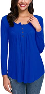HAOMEILI Women's Henley Shirts Casual Blouse Short Sleeve Button Up Tunic Tops Solid Color Fit Flare