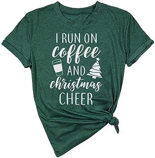 LUKYCILD I Run On Coffee and Christmas Cheer Shirt Women Short Sleeve Christmas Funny Top