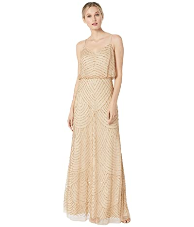 Adrianna Papell Long Deco Bead Blouson (Champagne/Gold) Women